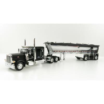 First Gear 60-1004 Peterbilt 389 Sleeper Cab Truck Black with MAC Half Round Dump Trailer - Scale 1:64