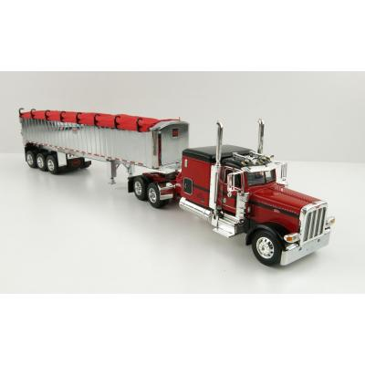 First Gear 60-1005 Peterbilt 389 Truck with MAC Framed Coal End Dump Tri-Axle Trailer Red - Scale 1:64