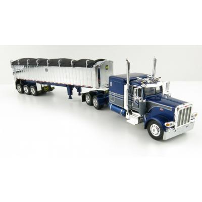 First Gear 60-1007 Peterbilt 389 Truck Blue Gunmetal Grey and MAC Framed Coal End Dump Tri-Axle Trailer - Scale 1:64