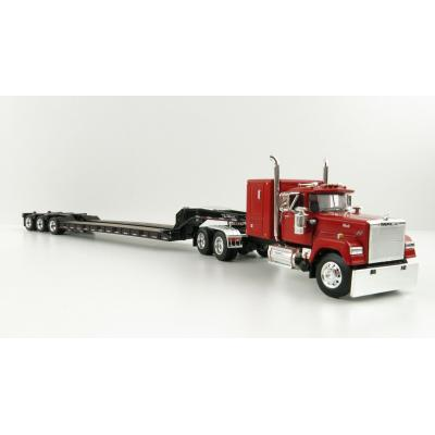 First Gear 60-1045  Mack Super-Liner Truck with  Talbert Tri-Axle Flatbed Trailer Red Black - Scale 1:64