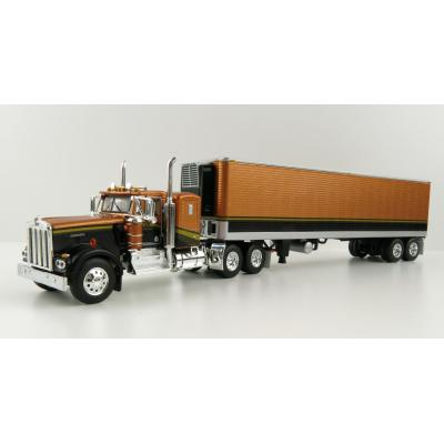First Gear 69-1030 Kenworth W900A Sleeper Cab Truck and 40' Refrigerated Reefer Trailer - Gold Nugget - Scale 1:64