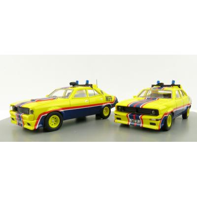 ACE Model Cars - Ford Falcon V8 Interceptors XA & XB Pursuit Cars Big Bopper & March Hare MFPs Twin Set - Scale 1:64