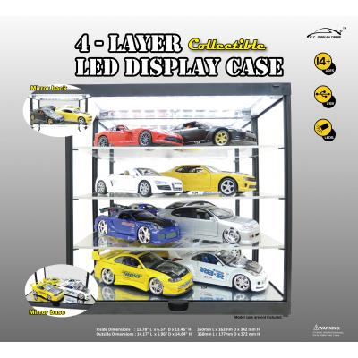 DDA - 4 Layer LED Light Display Case with Mirrored Back & Base (Black) for Diecast Models