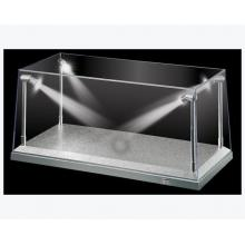 DDA Display Case Box Show Case with LED Light Silver Base for Diecast Models 1:18