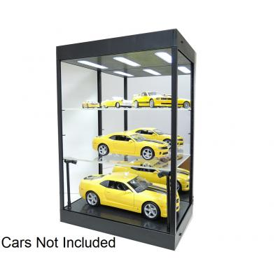 DDA Display Show Case Mirrored with LED Light Black with 2 Adjustable Shelves for Diecast Models 1:18 1:50