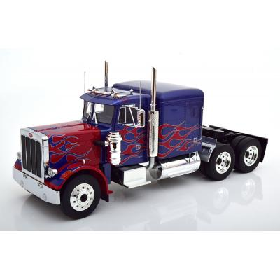 Road King - 1967 Peterbilt 359 Bull Nose Prime Mover Truck Blue Red - Scale 1:18