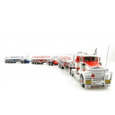 Highway Replicas Australian Kenworth SAR Truck Tanker Road Train + extra Trailer Red North Scale 1:64