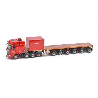 IMC Models 5274995 Nooteboom Red Line Mercedes Benz Actros2 Gigaspace 8x4 - Nooteboom Ballasttrailer 6 axle & Ballast Box  - Scale 1:50