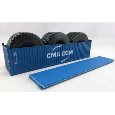 Iconic Replicas - 40 ft Shipping Container Open Top with Mining Truck Tyre Load - CMA CGM - Scale 1:50