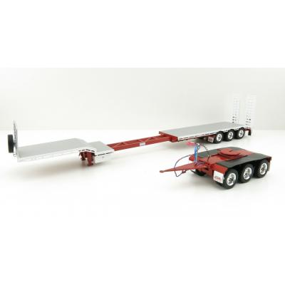 Iconic Replicas - Custom Transport Equipment CTE 45' Extendable Drop Deck Trailer with 3axle Dolly Red / White - Scale 1:50