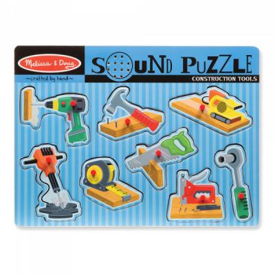 Melissa & Doug - Wooden Construction Tools Sound Puzzle - 8 pieces