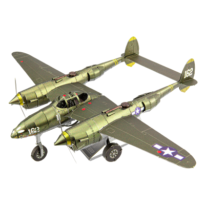Metal Earth 3D ICONX Laser Cut DIY Model KIT - Lockheed Martin P-38 Lighting Fighter Bomber Plane WW II - Scale 1:79
