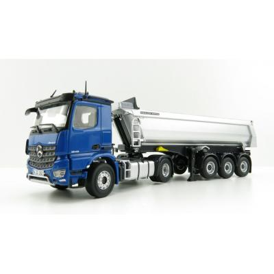 NZG 1002/20 - Mercedes Benz Arocs 4x2 with Meiller Tipping Semi Trailer Blue - Scale 1:50