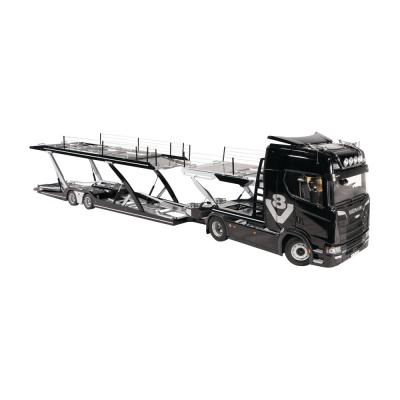 NZG 1026/51 - Scania V8 730S 4x2 Prime Mover with Lohr Car Transporter Black New 2021 - Scale 1:18