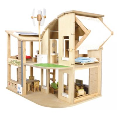 PlanToys 7156  - Green Dollhouse with Furniture - Wooden