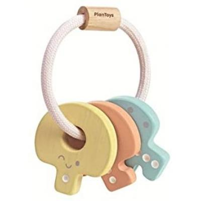 Plan Toys 5251 - Wooden Baby Key Rattle Pastel