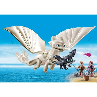 Playmobil 70038 - Light Fury with Baby Dragon and Children - Dragons 3