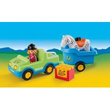 Playmobil 6958 - 1.2.3 Car With Horse Trailer