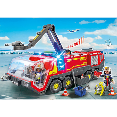 Playmobil 5337 Fire Engine Airport Fire Rescue Truck with Lights and Sound City Action Airport