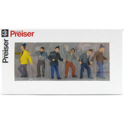 Preiser 68211 Type B Set of 6 Construction Worker Figurines Scale 1:50
