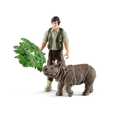 Schleich 42428 Ranger and Indian Rhinoceros Play Set - Wild Life
