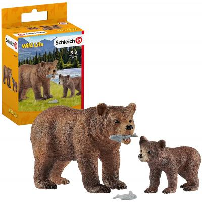 Schleich 42473 - Grizzly Bear Mother with Cub - Wild Life
