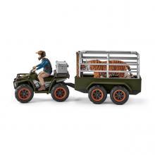 Schleich 42351 - Quad Bike with Trailer and Ranger - Wild Life