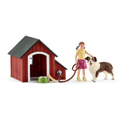 Schleich 42376 - Dog Kennel with Australian Shepherd - Farm World