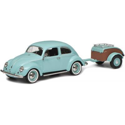 Schuco 450269900 VW Volkswagen Beetle Käfer Ovali Turquoise with Westfalia Trailer Scale 1:43