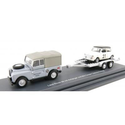 Schuco 452632700 Land Rover 1 with Trailer and Mini Cooper #21 Delaney Racing - Scale 1:87