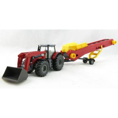 Siku 1996 - Massey Ferguson Front Loader Tractor with Conveyor Belt Trailer - Scale 1:50