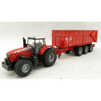 Siku 1844 - Massey Ferguson MF8480 Tractor with Krampe Trailer - Scale 1:87