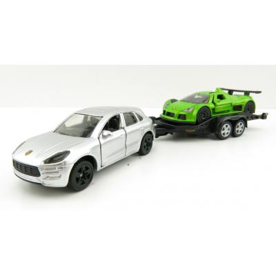 Siku 2544 - Porsche Macan with Gumpert Apollo on Transport Trailer - 1:55 Scale