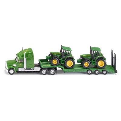 Siku 1837 - US Truck with Low Loader with 2 x John Deere 6820 Tractors - Scale 1:87