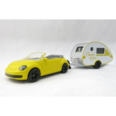 Siku 1629 - VW Volkswagen New Bettle Cabrio with Caravan Summer Holiday