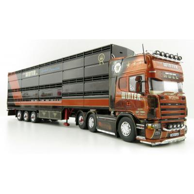 Tekno 76182 - Scania 4-Serie 6x2 Truck with Houghton Parkhouse Cattle Semi-Trailer Twin Tyres - KS Winter - Scale 1:50