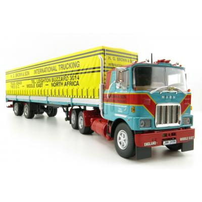 Tekno 76797 Mack F 700 6X4 Truck with 2 Axle Tautliner Trailer Brown H.G - Scale 1:50