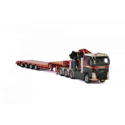 WSI 410330 Mammoet - Volvo FH4 8x4 Prime Mover wirh Semi Lowloader 4 Axle + Palfinger 7800.2 - Scale 1:50
