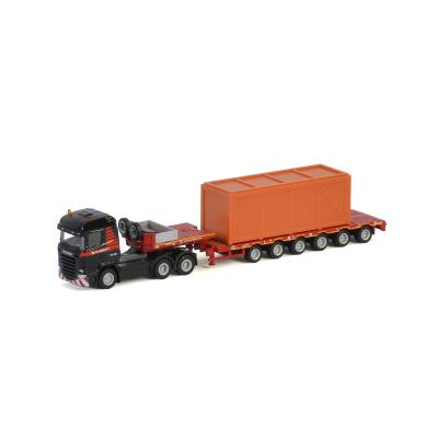 WSI 900035 - Mammoet SCANIA HIGHLINE 6x4 SEMI LOWLOADER - 6 AXLE + WOODEN BOX - Scale 1:87