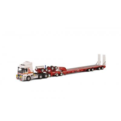 WSI Drake 410219 Mammoet Mercedes-Benz Actros 6x4 with Drake 2x8 Dolly and 4x8 Swinging Trailer Scale 1:50