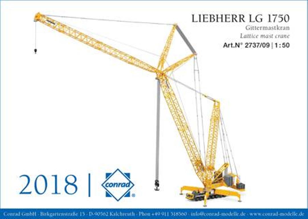 Details about Conrad 2737/09 - LIEBHERR LG 1750 Lattice Mast Mobile Crane  Liebherr Livery 1:32