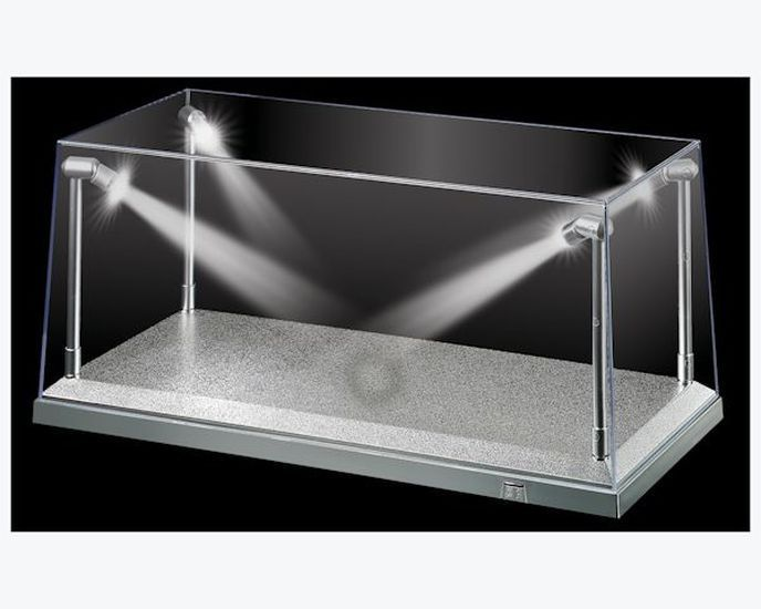 Details About Dda Display Case Box Show With Led Light Silver Base For Models 1 18 Scale